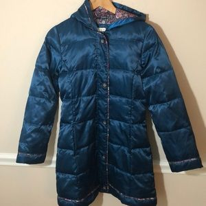 Land's End Teal Long Puffer Coat Flowers 14